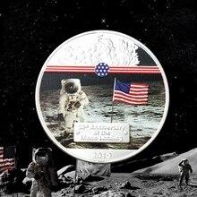 2019 50th Anniversary Apollo 11 Moon Landing Silver Cpins Commemorative Coin Gift token drop shipping