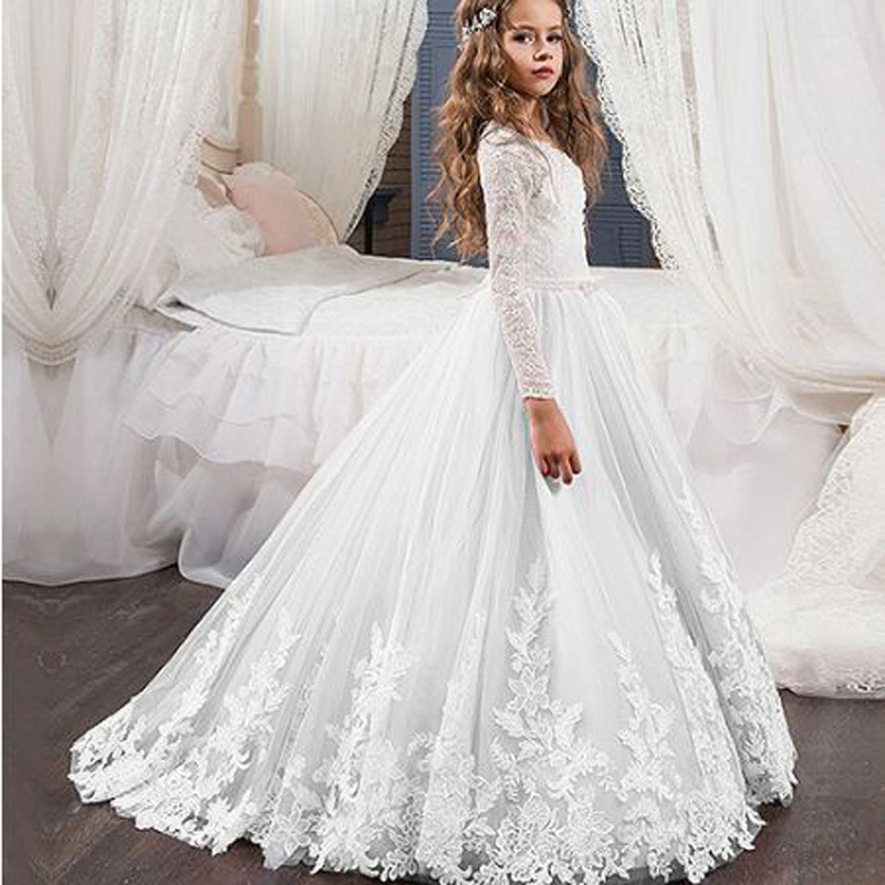 Fashion Appliques Beading Lace Tank Sleeve Ball Gown   Flower     Girl     Dresses   Simple Long Sleeve O-neck Floor Length communion Gown