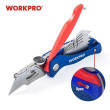 WORKPRO-cuchillo plegable de electricista, utilitario, tubo de cuchillo con 5 cuchillas en mango, cortador de Cable de tubería