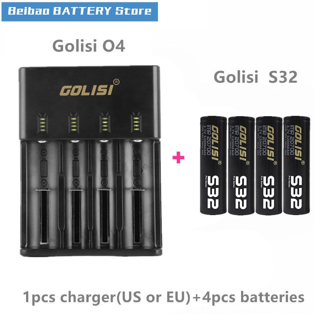 Golisi 4 шт. S32 IMR 20700 3200 мАч 40A E CIG аккумуляторная батарея VAPE с Golisi O4 интеллектуальное зарядное устройство 2A Быстрая зарядка