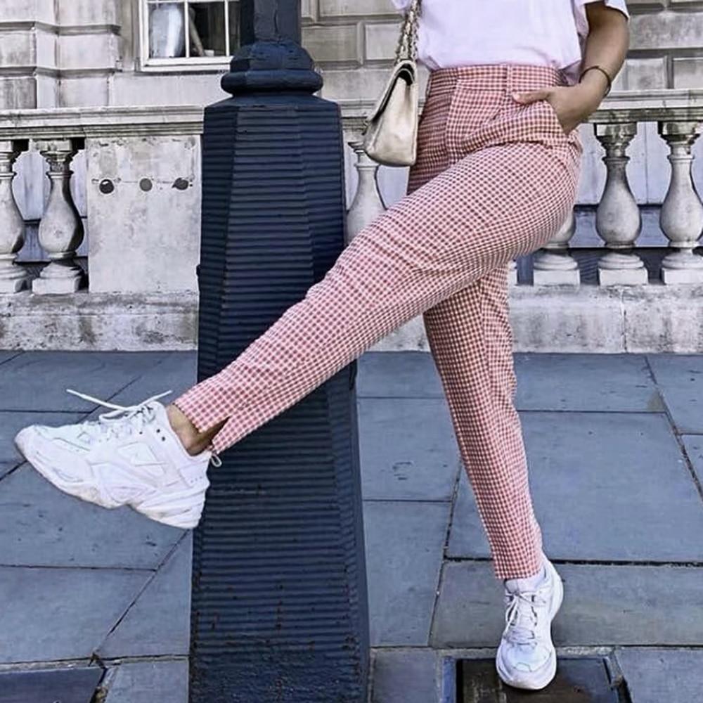 Klacwaya Fashion Women Pink Plaid Long Pants 2019 Office Ladies Elegant Straight Trousers Girls Street-wear Slim Pantalon Femme
