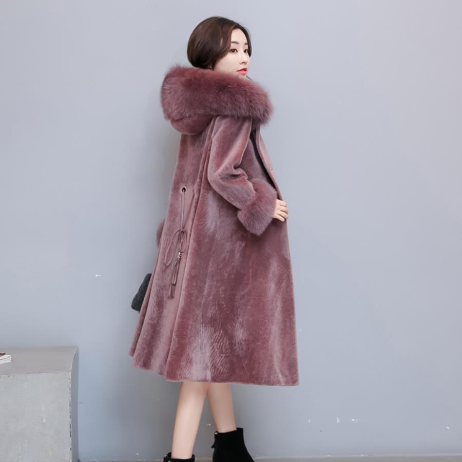 Winter Women's Thick Faux Fur Coat Fashion Sheep Sheared Coat Female Long Sleeve Slim Parkas Parchwork Fur Casual Outwear L1517
