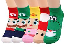 Super Bros Women Socks Princess Funny Cute Girls Kawaii Mushroom Dinosaur Cotton Cartoon Casual New