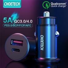 CHOETECH شحن سريع 3.0 شاحن سيارة USB صغير لسامسونج شاومي المزدوج Usb QC 3.0 السيارات PD شاحن سريع لهواوي ماتي 30 20