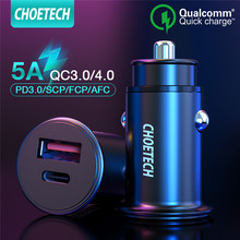"CHOETECH מהיר תשלום 3.0 מיני USB מטען לרכב עבור סמסונג Xiaomi Dual Usb QC 3.0 אוטומטי פ""ד מהיר מטען עבור huawei mate 30 20"