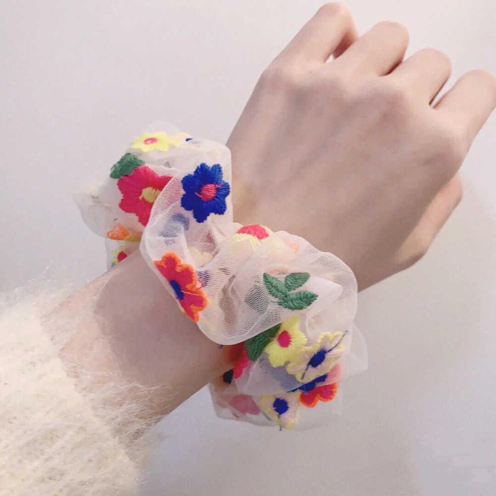 Manis Wanita Rambut Scrunchie Lucu Daisy Elastis Rambut Band Gadis Mesh Bordir Floral Bando Rambut Tali Rambut Aksesoris