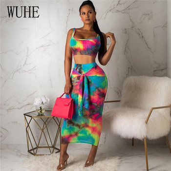 WUHE Two Piece Set Summer Women Dresses Crop Tops+Skirts Suits Sexy Night Club Party Tracksuits Tie Dye Print Street women summer two pieces sets dress casual solid backless crop tops skirts suits set female night party club dresses tracksuit