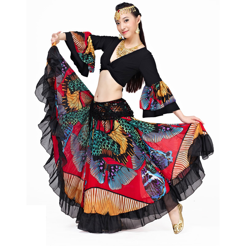 720 Degrees Luxury Butterfly Print Women Belly Dance Skirt Lace Bohemian Gypsy Female Spanish Flamenco Skirt Dancing Costumes