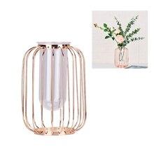 Luxury Nordic Flower Vase Rose Gold Metal Rack Planter Terrariums Plant Glass Decoration Home Modern Decorative Vases