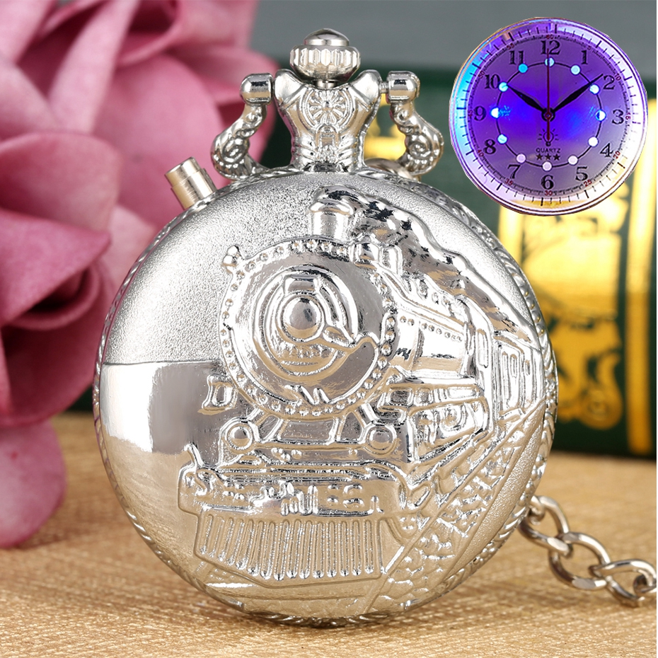 Silver Luminous LED Dial Quartz Pocket Watch Carved Train Locomotive Engine Steampunk Motor Railway Chain Pocket Fob Watches