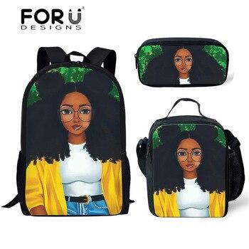 FORUDESIGNS Girls School Bags African Black Girls Hairstyle School Backpack Set Scool Bag For Girl Kids Girl Backpack Junior Bag 42
