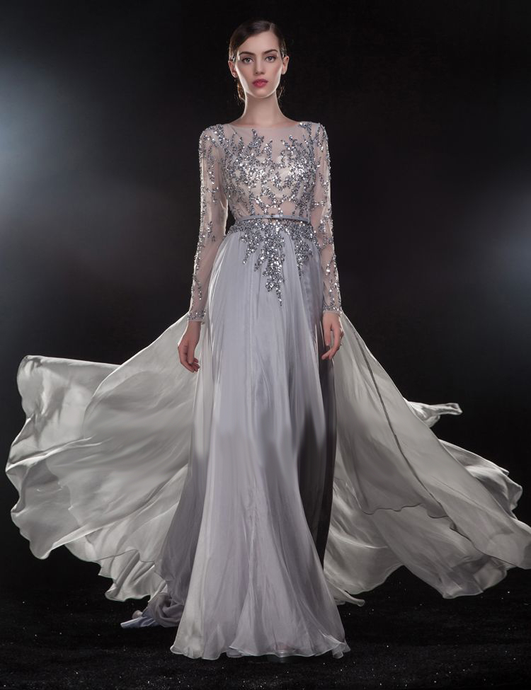 Sexy Backless Long Sleeve Evening Gown See Through Cap Sleeve Beading Silver Formal Robe De Soiree Mother Of The Bride Dresses