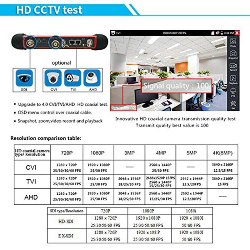 Testeur de IG CCTV moniteur X7 H.265 4K 8MP TVI CVI AHD SDI CVBS testeur de caméra IP avec TDR, multimètre, prise de câble - 4