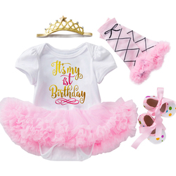 0-24 м одежда для маленьких девочек кружевное платье принцессы с короной для малышей платье на 1-й День рождения милая детская одежда нарядное...