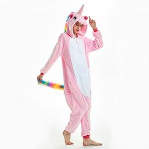 Image 3 - Women Unicorn Pajamas Sets Kigurumi Flannel Cute Animal Pajamas kids Women Winter unicornio Nightie Pyjamas Sleepwear Homewear