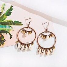 Boho Beach Shell Tassel Drop Dangle Earrings For Women Fashion Jewellery Beach Gold Round Piercing Earring Gift fashion sweet shell round dangle earrings