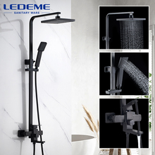 LEDEME Bathroom Shower Faucet set Black Rainfall Sprayer Shower Mixer Wall Mount Hot Cold Water Tap Mixers with Hand L72433B