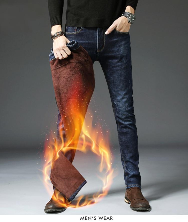 Men's Plus Velvet Jeans Men's Autumn  Stretch Slim Feet Warm Jean Men Plus Velvet Thick Pants Winter Trousers