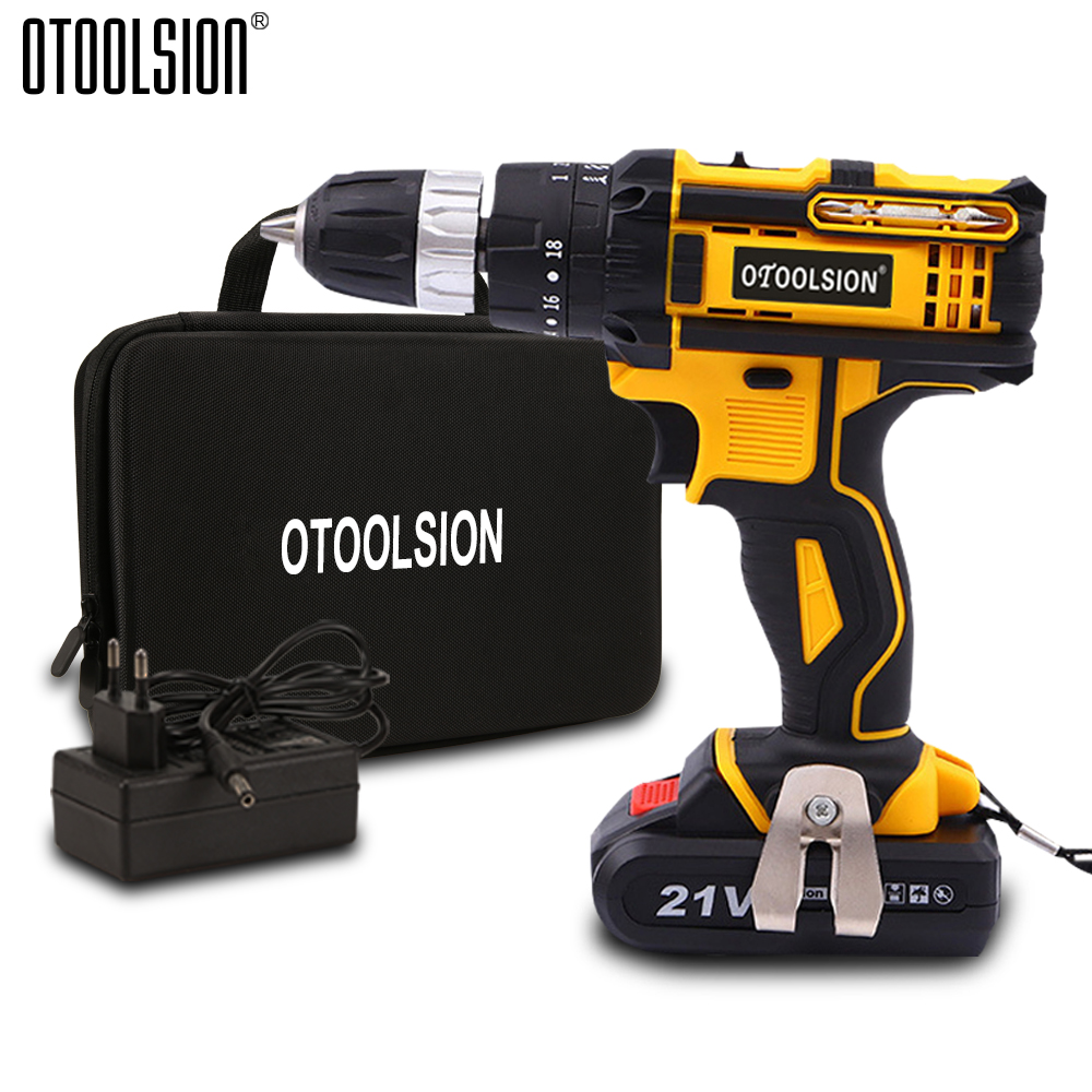 Variable Speed 21V Impact Electric Drill Impact Screwdriver Drill Impact Hammer Cordless Drill Wireless Tool Multi-function Bag