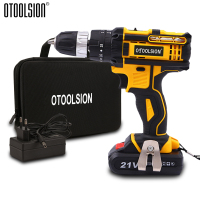 Variable Speed 21V Impact Electric Drill Impact Screwdriver Drill Impact Hammer Cordless Drill Wireless Tool Multi function Bag