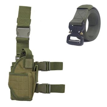 Sprzęt wojskowy taktyczny pistolet kabura uniwersalny polowanie Airsoft pistolet pistolet nóżka stojak kabura regulowana nylonowa sakiewka kabura tanie i dobre opinie RUIN HAWK CN (pochodzenie) Tactical Holster Tactical Nylon Gun Holster Waist Belt Belt Holster Leg Holster Black Green Tan