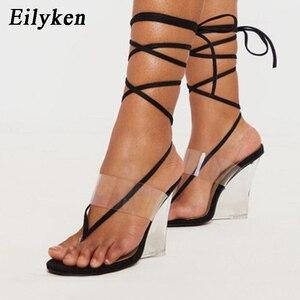 Eilyken albaricoque negro PVC transparente cristal cuñas sandalias verano Clip Sexy dedo del pie de encaje-Up mujeres tacones altos zapatos de fiesta