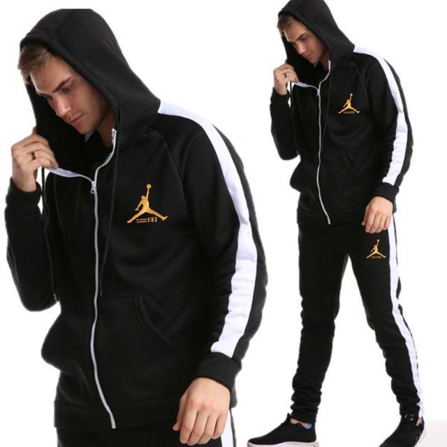 2019 New Brand Tracksuit Fashion JORDAN 23 Men Sportswear Two Piece Sets All Cotton Zipper sports hoodie+Pants Sporting Suit Mal