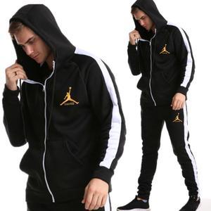 Image 1 - 2019 yeni marka eşofman moda JORDAN 23 erkekler spor iki parçalı setleri tüm pamuk fermuar spor hoodie + pantolon spor takım elbise Mal