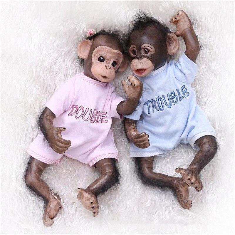 40cm silicone reborn poupées jumeaux singe orang-outans poupées pour enfants noël cadeau d'anniversaire accessoires de photographie