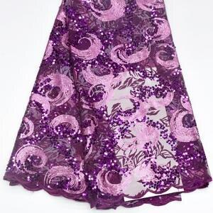 Image 3 - מכירה לוהטת פאייטים נטו תחרה בד 2019 אפריקאית באיכות גבוהה רשת חתונה הכלה שמלת תפירת נצנצים רקום חומר DG847