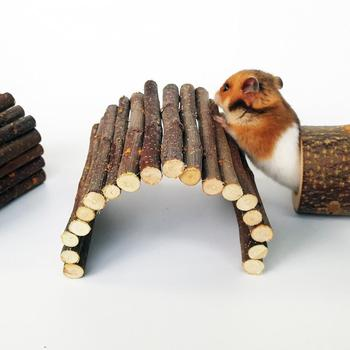 Apple Wooden Arch Bridge Hamster Dodging Tunnel Hamster Molar Toy Pet Rabbit Guinea Pig Supplies 3
