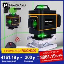 PRACMANU – niveau Laser 4D 16 lignes, croix horizontale et verticale 360 °, Super puissant, Auto-nivellement, niveau Laser vert