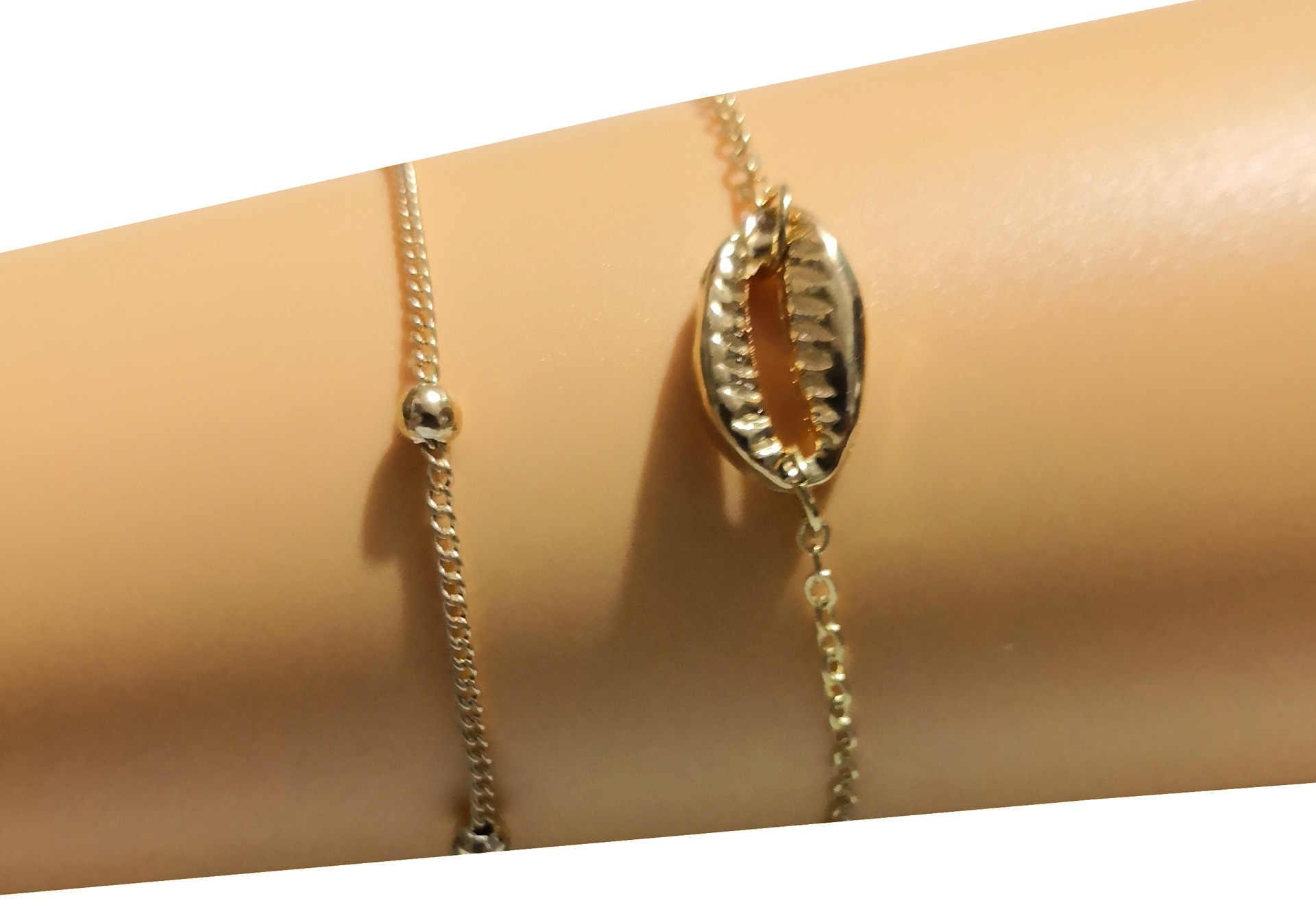 โบฮีเมียหลายชั้นทองเงินลูกปัด 2 ชิ้นชุดสร้อยข้อมือผู้หญิงเครื่องประดับเท้า Anklets อุปกรณ์เสริม