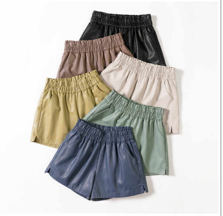 6 colors Fashion Women  PU Leather  High Waist Wide Leg Faux Leather Shorts High Quality Winter Elastic band Loose PU Shorts