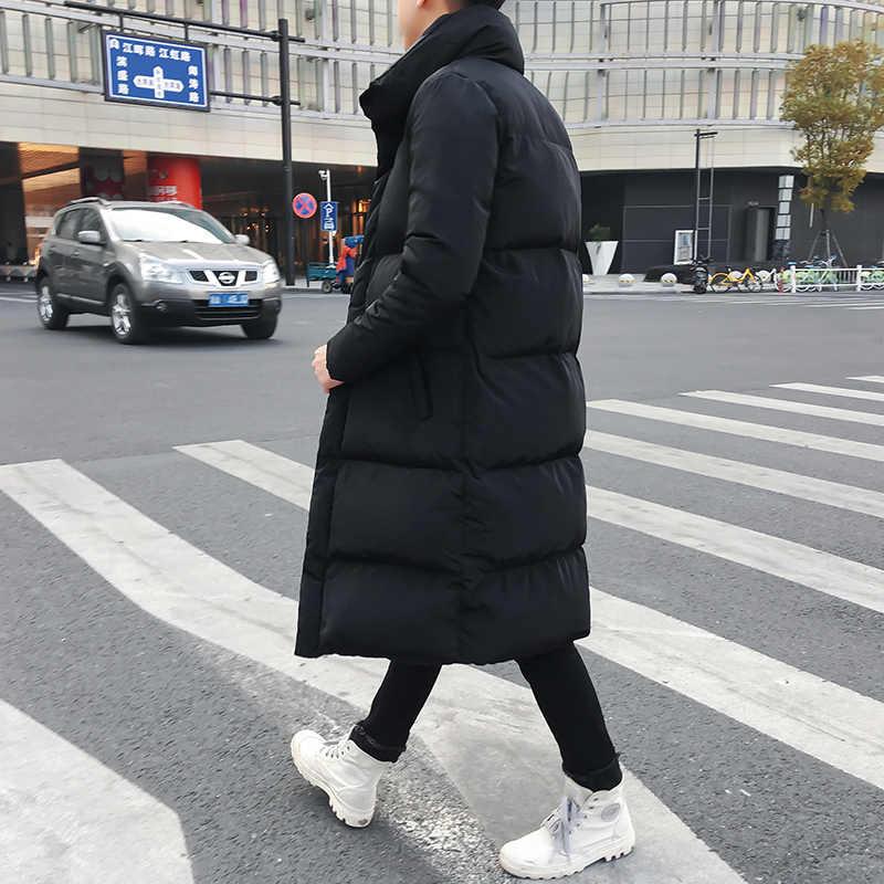 Heren Lange Donsjack Jas Luxe Merk Winter Effen Zwart Parka Mannen Plus Size 4XL Dikke Warme Slim Fit Mannelijke overjas