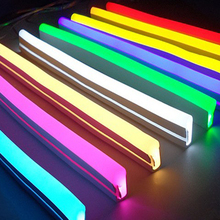 12V Led Neon Strip Light Sign Rope Flexible Tape Soft Bar Silicon Tube Waterproof 2835 SMD White Red Green Yellow Pink Ice Blue 12v led strip light waterproof led tape lamp 1m 5m 10m 2835 smd flexible led neon strip led sign board tube rope string lights
