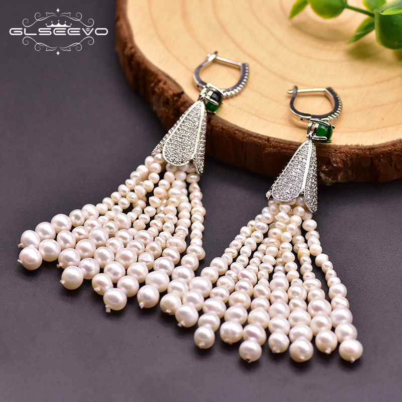 GLSEEVO Designer Natural Fresh Water Pearl Tassel Earrings For Women Wedding Girls Boho Luxury Jewrlry For Best Friends GE0924