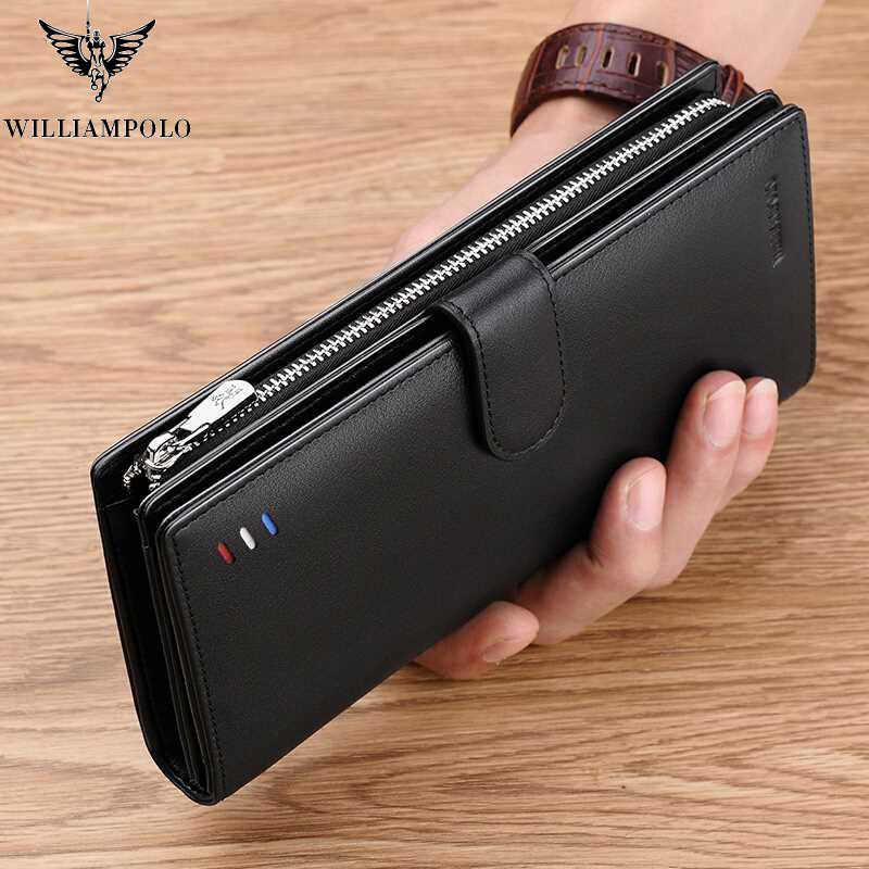 Мужской Длинный кошелек из натуральной кожи от бренда WILLIAMPOLO, черный модный держатель для карт, кошельки для монет, деловой клатч из воловьей кожи, черный цвет