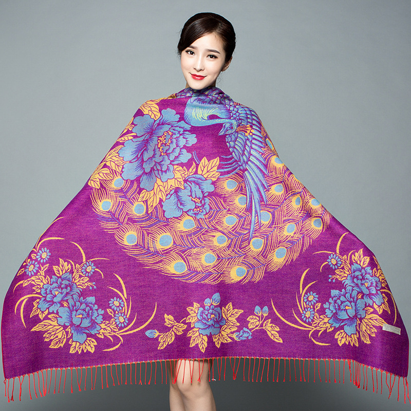 Women Autumn And Winter Ethnic Cashmere Shawl Scarf Warm Cloak Square Dual-use Thickening Large Square Scarf