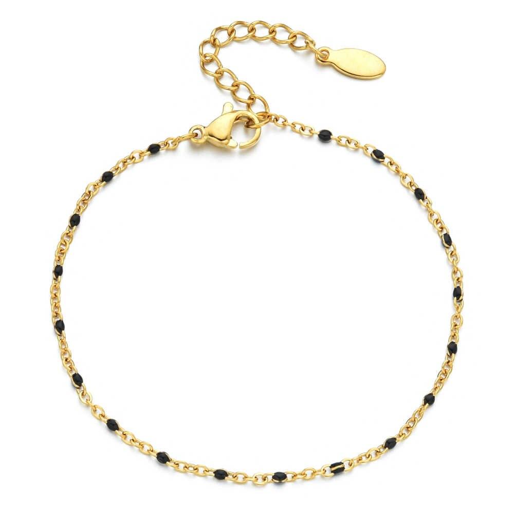 ZMZY Boho paslanmaz çelik bilezikler kadınlar için sevimli emaye bilezik takı altın renk Link zinciri bilezik Femme Mujer Pulsera