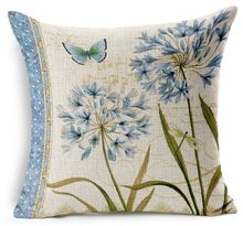 Blue Orchid Butterfly Style Fragrance Natural Pillows Cute Fiber Euro Cover Home Decor Enhance Plants Gift Fresh(China)