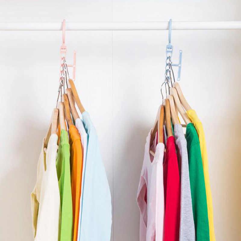 Portátil de magia de la percha bufanda corbata fijo armario ahorro de espacio acabado gancho organizador de almacenamiento de titular de soporte colgante
