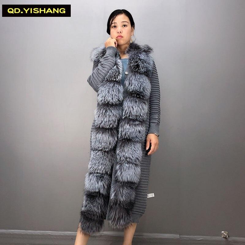 Véritable fourrure de renard naturel manteau de fourrure pull femmes laine à tricoter hiver pull manteau femmes automne et hiver manteaux longue section