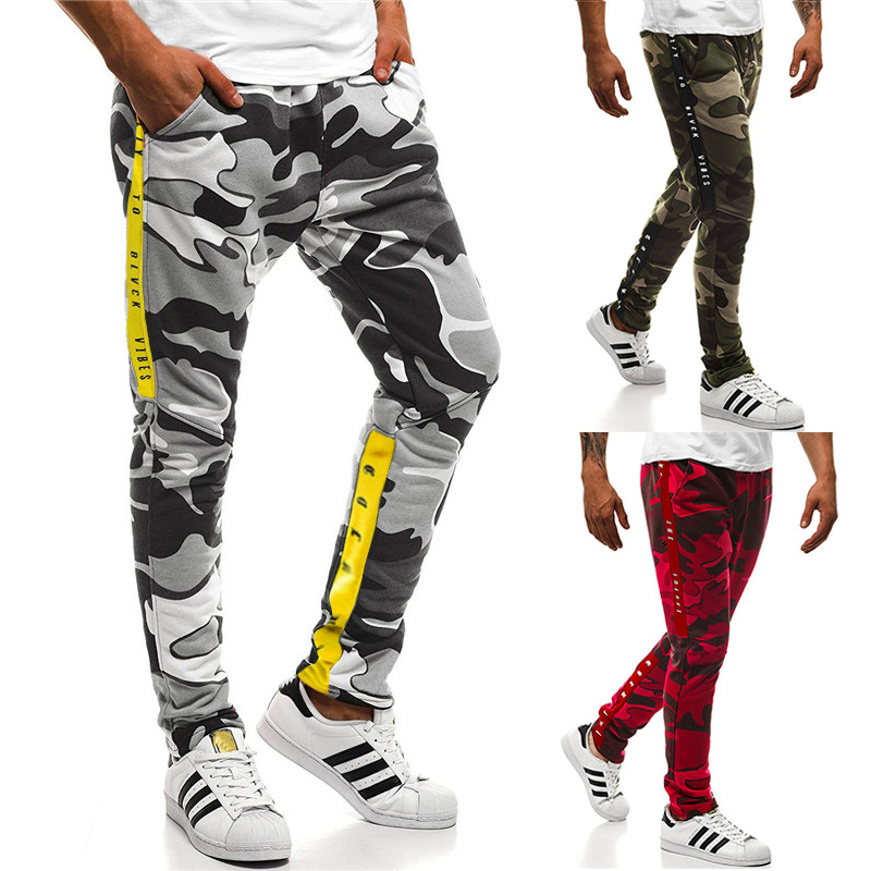 SWAGWHAT Men Camouflage Casual Pants Patchwork Sweatpants Male Cargo Pants Multi-pocket Sport Wear Mens Joggers