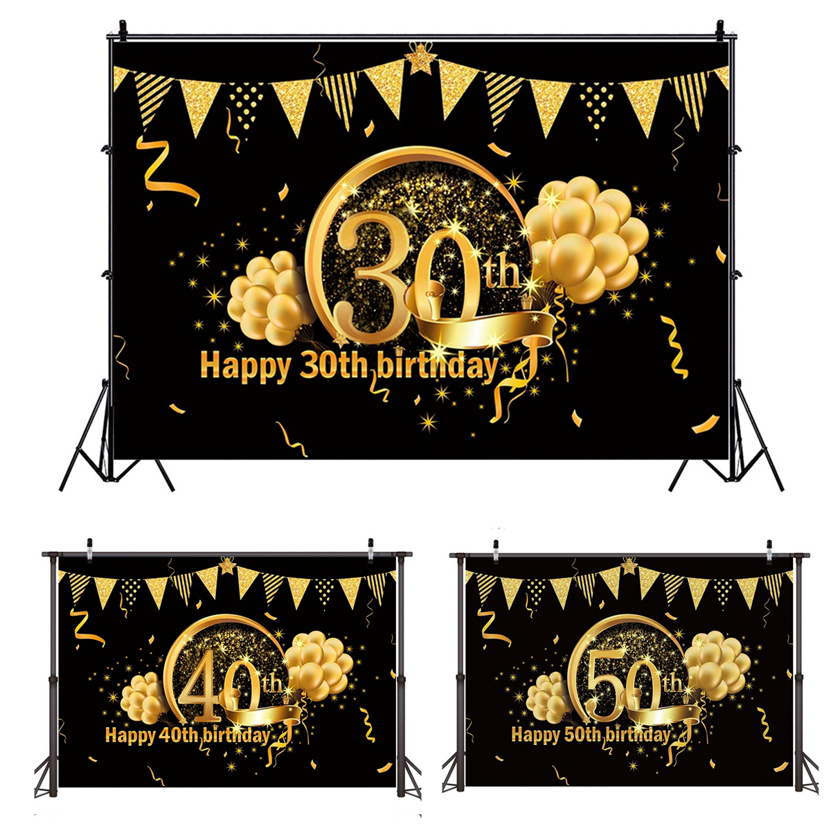 QIFU Birthday Background Decor 30 40 50 Birthday Party Decor Adult 30th 40th 50th Birthday Party Supplies 30 Years Anniversary