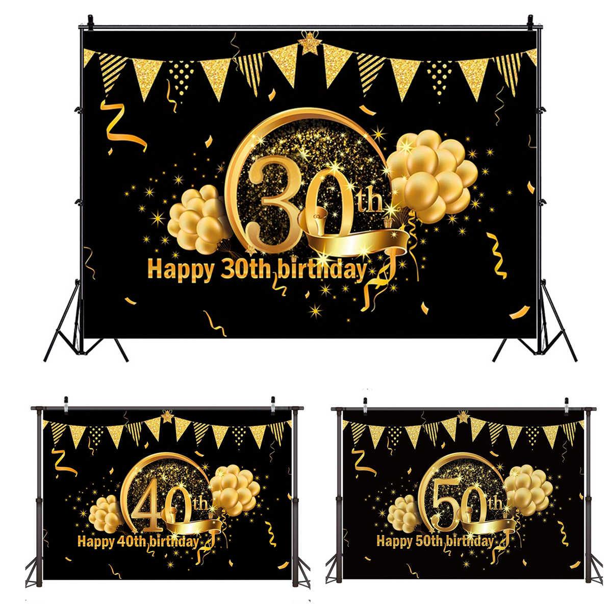 QIFU tło na urodziny Decor 30 40 50 dekoracje na przyjęcie urodzinowe dla dorosłych 30th 40th 50th materiały urodzinowe 30 lat rocznica