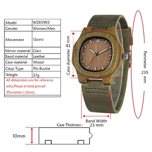 Image 2 - Men Women Wooden Watch Creative Round Shape Dial Light Wood Case Genuine Leather Band Bamboo Wood Clock Male Reloj de madera TOP