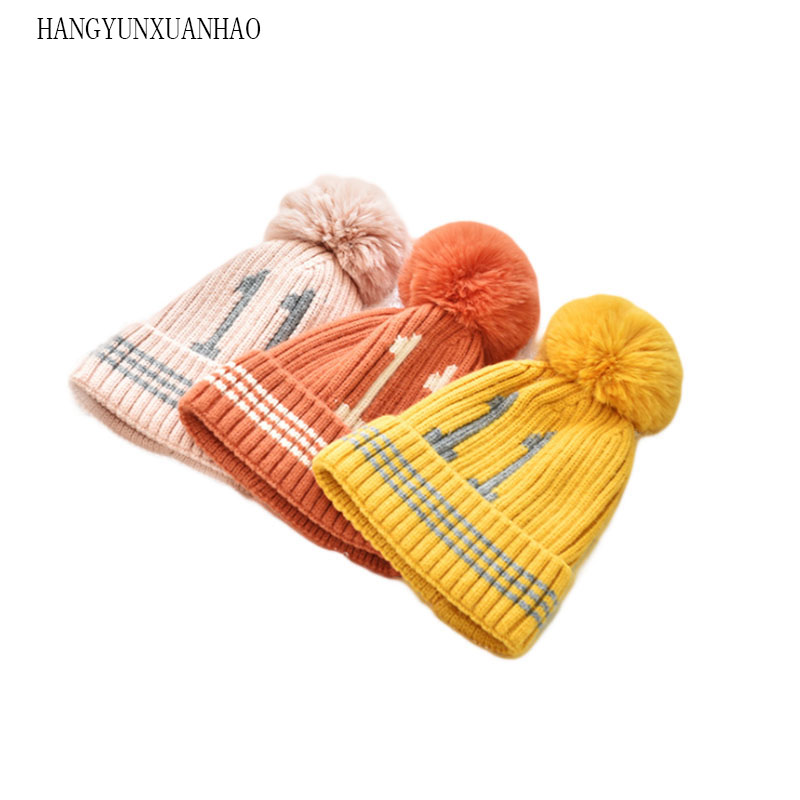 HANGYUNXUANHAO Fashion Baby Hat Knitted Winter Pom Children For Boys Girs Beanies Cute Cotton Cap Warm