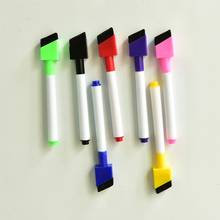 5pcs/lot Magnetic Whiteboard Pen Erasable Dry White Board Markers Magnet Built In Eraser Office School Supplies