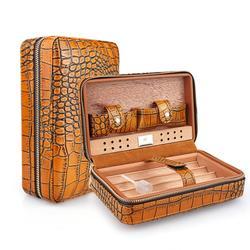 Humidificateur à cigare de voyage sans briquet et coupe-cigare Portable, étui à cigare de voyage en cuir de cèdre doublé bois de cèdre